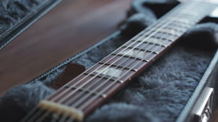 Electric guitar in the case Stock Footage