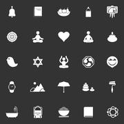 Zen society icons on gray background - stock illustration