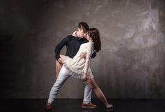 Beautiful couple in the active ballroom dance Stock Photos