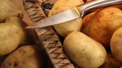 Basket of potatoes - Panning to the right Stock Footage
