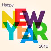 Stock Illustration of New Year card with the different colored big letters.
