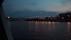 Parkovy Bridge over Dnieper River in Kiev, Ukraine Stock Footage