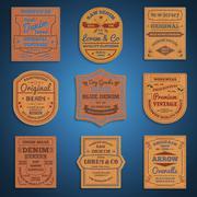 Leather classic denim jeans labels set - stock illustration