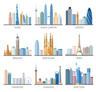 City skyline flat icons set Piirros