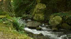 Small waterfall at Canon Castle garden, France Stock Footage