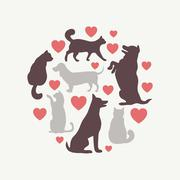 Cats and dogs vector silhouette round composition - stock illustration
