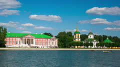 Vacationers go boating about Kuskovo palace. Moscow Stock Footage