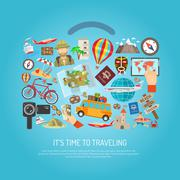Stock Illustration of Traveling Time Flat Color Concept