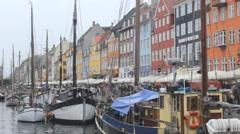 Color Buildings Mol yachts ,canal Copenhagen 5 Stock Footage