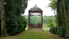 Chinese arbor at Canon Castle garden, France Stock Footage