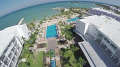 Hotel-beach flyover in Jamaica Stock Footage
