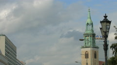 St. Mary's church tower as seen from Karl-Liebknecht-Straße, Berlin Stock Footage
