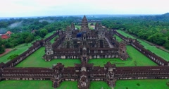 Left dolly aerial of Angkor Wat Stock Footage