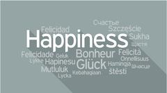 HAPPINESS in different languages, word tag cloud Stock Illustration