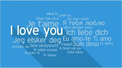 I LOVE YOU in different languages, word tag cloud - stock illustration
