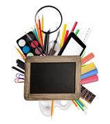 School accessories on white background Stock Photos