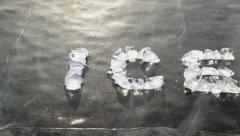 The text of the pieces of ice on the surface of the cold Lake Baikal Stock Footage