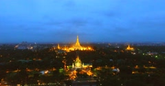 4k night aerial - slow rising crane shot of Yangon Stock Footage