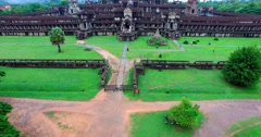 Ground to air craneshot reveal drone aerial - Angkor Wat Stock Footage