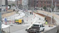 Copenhagen site reconstruction road 1 Stock Footage
