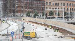 Copenhagen site reconstruction road 2 Stock Footage