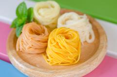 Fermented Rice Flour Noodles/ kanom jeen are fresh rice noodles in Thai cuisi Stock Photos