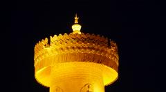 Biggest Tibetan Prayer Wheel At Night China Stock Footage