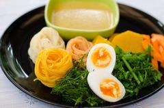 Fermented Rice Flour Noodles /kanom jeen Stock Photos