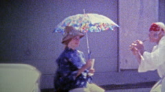 1974: Trying on Japanese style Kimonos and eating traditional meal. Stock Footage