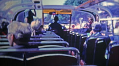 1969: Double decker tour bus view is a popular attraction to see the city. Stock Footage
