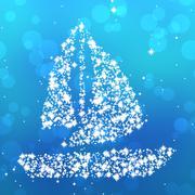 Starry sailing boat on blue Stock Illustration