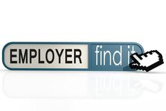 Employer word on the blue find it banner - stock illustration