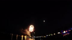 Fireworks on the seafront at night Stock Footage