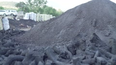 Traditional Charcoal production hill Stock Footage