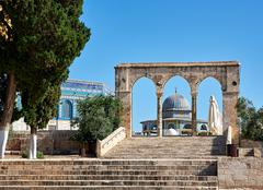 Arch next to Dome of the Rock mosque in Jerusalem - stock photo