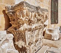 Capital: the top part of column or pillar - stock photo