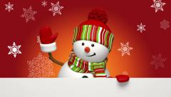 Christmas snowman salutation Stock Footage