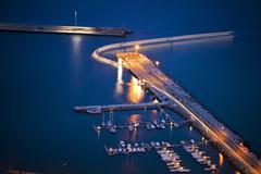 Porto Santo Harbor by night - stock photo