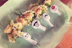 Flowers with badge for the wedding family - stock photo