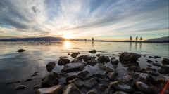 Slider Time Lapse Sunset on Utah Lake Stock Footage