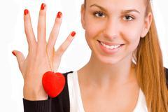 Valentine's Day girl - stock photo