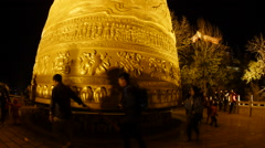 Giant Gold Tibetan Prayer Wheel Yunnan Province China Stock Footage