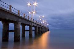 Pier in Porto Santo by evening - stock photo
