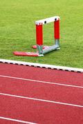 Track and hurdles Stock Photos