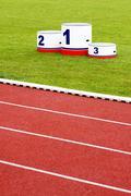 Stock Photo of Track lanes with winner's podium