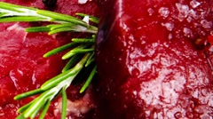 Raw beef fillet mignon on old retro style wood Stock Footage