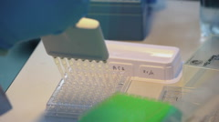 Research laboratory. substance in tubes Stock Footage