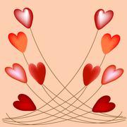 Volumetric hearts on strings balloons Stock Illustration