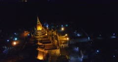 4k night aerial close to Ananda temple Stock Footage