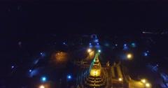 4k night aerial Ananda temple- flying backwards Stock Footage